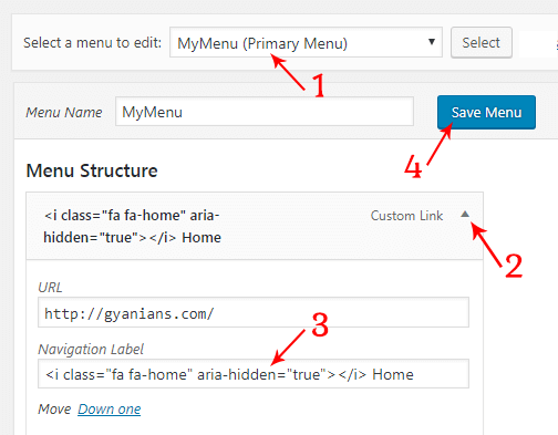 add awesome font icons in WordPress menus