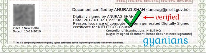 CCC Certificate Digital Signature Verified