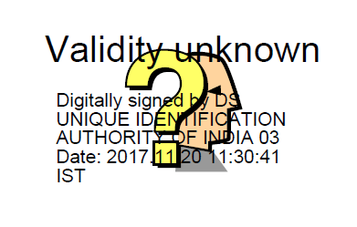 aadhaar card digital signature question mark