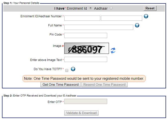 aadhaar card download form