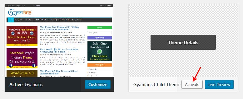 activate wordpress child theme
