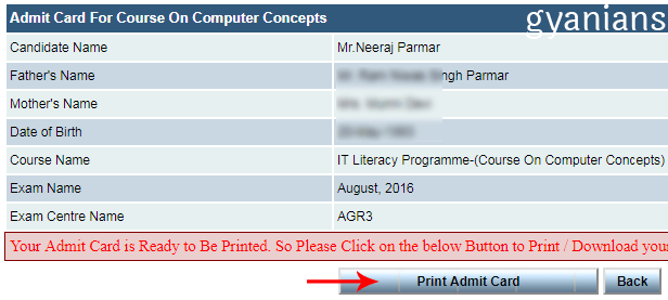 admit card for course on computer concepts