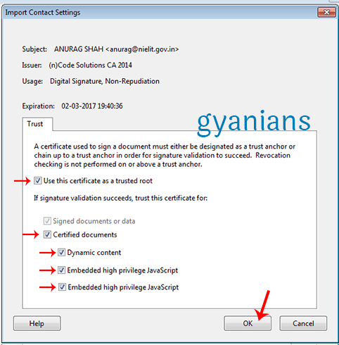 import contact settings