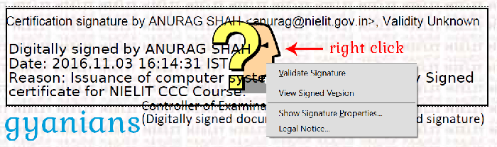 right click on digital signature