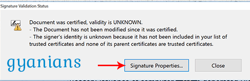 signature validation status popup