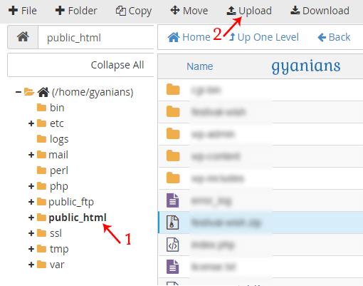 click upload button in public_html folder