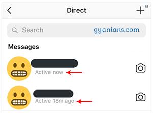 instagram active now and last active status