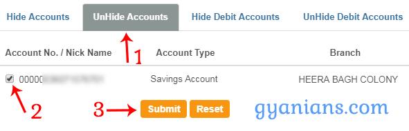 Unhide Account in SBI Online