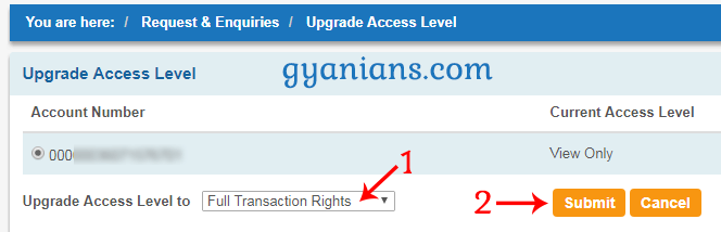 upgrade access level to full transaction rights