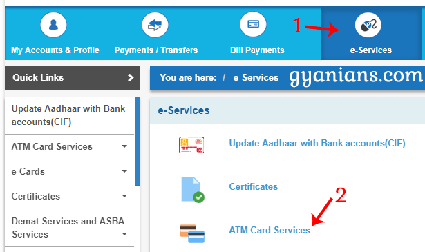 Click e-Services then ATM Card Services