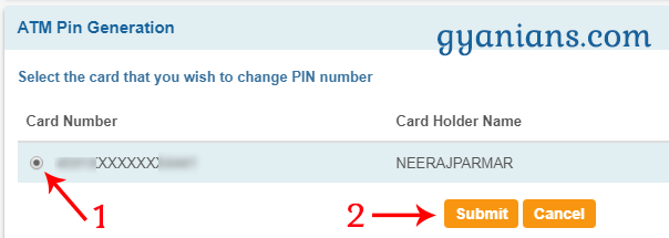 Select Card Number to Change ATM PIN Number