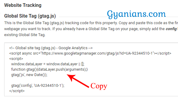copy analytics website tracking code